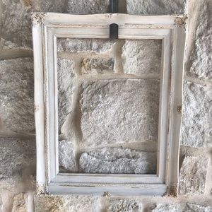 White Distressed Shabby Chic Detailed Wood Frame